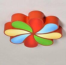 LXSEHN Kreativ Mehrfarbig Blütenform LED Kinderzimmer Deckenleuchten Einfache Moderne Junge Mädchen Schlafzimmer Wohnzimmer Beleuchtung Deckenleuchte Kindergarten Kindergarten Spielplatz Deckenleuchten / 5730 LED-Chip ( Farbe : Red Multicolor-45cm/24W )