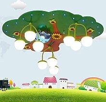 LXSEHN Kreativ Weisheitsbaum Kinderzimmer Deckenleuchten LED-Augenschutz Junge Mädchen Schlafzimmer Karikatur Deckenleuchte Kindergarten, Kindergarten, Spielplatz Erleuchtung Lampen Laternen (3 segmentiert) ( Farbe : White light-LED bulb )