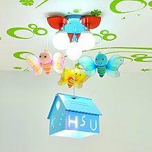 LXSEHN LED Kreativ Biene Schmetterling Anhänger Kinderzimmer Deckenleuchten Leuchter (4-lampig) Junge Mädchen Schlafzimmer Kindergarten Kindergarten Spielplatz Deckenleuchten ( Farbe : Blau-Not including bulbs )
