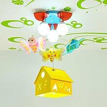LXSEHN LED Kreativ Biene Schmetterling Anhänger Kinderzimmer Deckenleuchten Leuchter (4-lampig) Junge Mädchen Schlafzimmer Kindergarten Kindergarten Spielplatz Deckenleuchten ( Farbe : Gelb-LED-9W*4 )