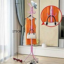 LXSnail Mantel Racks Schlafzimmer Kleiderbügel Boden Mode kreative Kleidung Regale Eisen Anti-Rost (rosa / 175cm) Kleiderständer