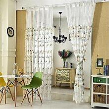 LY® Duschvorhang Hellblau Blume Baumwollgarn Vorhang Bestickte Vorhänge Für Wohnzimmer Cortinas Tulle Cortina Küche , White , W200Cm*H270Cm