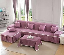LY&HYL All-Saison Heimtextilien Volle Deckung Einfarbig dicker Baumwolle Sofabezug , riches purple , 170*260