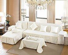 LY&HYL All-Saison Heimtextilien Volle Deckung Einfarbig dicker Baumwolle Sofabezug , classic white , 210*350Sofa Cover