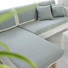 LY&HYL Moderne einfache Leinen Heimtextilien moderne Art mehrfarbige feste reine 100% Baumwolle Sofaabdeckung slipcovers Sofa-Handtuch , grey , 90*240cm