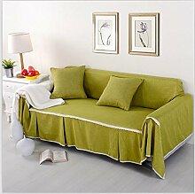 LY&HYL Nachgemachte Leinengewebe Solide Sofa-Abdeckung Einzelne / Zwei / Drei / Viersitzige Sofaabdeckung Polyester-Sofaabdeckungen, die für das Zeichnen des Raumes der grünen Sofaabdeckungen benutzt werden , 215*260Lovesea