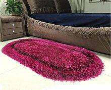 LYD® Teppich Home Maschine Weben Trockenreinigung Kissen Stretch Kachelofen Wohnzimmer Couchtisch Schlafzimmer Bett Liner Ovaler Teppich 50*80Cm Black Rose