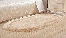 LYD® Teppich Home Maschine Weben Trockenreinigung Kissen Stretch Kachelofen Wohnzimmer Couchtisch Schlafzimmer Bett Liner Ovaler Teppich 50*80Cm Elliptical Gold Camel