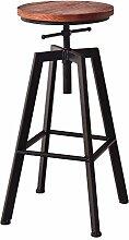 Lying Bar Stühle, High Bar Bank Hohe Stuhl Eisen Massivholz Industrial Wind Rotation Bar Hocker Haushalt Lifting Bar Stuhl W33cmxH60-80cm finden ( Farbe : A )