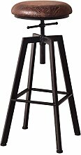 Lying Bar Stühle, High Bar Bank Hohe Stuhl Eisen Massivholz Industrial Wind Rotation Bar Hocker Haushalt Lifting Bar Stuhl W33cmxH60-80cm finden ( Farbe : B )