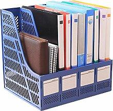 Lying Büro Bürobedarf Vier Spalten File Box-Dateien Rack-Datei Shelf-Datei Bar File Shelf Regal finden ( Farbe : Blau )