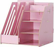 Lying Büro Schreibtisch Multifunktions-Aufbewahrungsbox Bürobedarf Debris Box File Shelf Finishing Rack Regal finden ( Farbe : Pink )