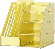 Lying Büro Schreibtisch Multifunktions-Aufbewahrungsbox Bürobedarf Debris Box File Shelf Finishing Rack Regal finden ( Farbe : Gelb )