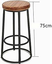 Lying Retro Eisen Massivholz Bar Stuhl, Coffee Shop Drehen High Stuhl Restaurant Shop Hochstuhl Bar Counter Hochstuhl Kassierer Haushalt Einfache Esszimmer Hocker 65-85cm finden ( Farbe : #2 , größe : 75cm )