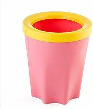 LYL Familie Wohnzimmer Badezimmer Küche Mülleimer Deckel Kreativ Nein Kunststoff Abfallkorb (15 × 17cm) ( Farbe : Pink )