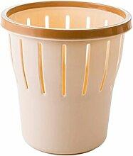 LYL Großer Küchen-Mülleimer Deckel Druckfreier Kreis Kreativer Wohnraum Badezimmer Abfalleimer Kleiner Plastiktisch (25 * 26.5cm) (Farbe : Beige)