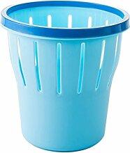 LYL Großer Küchen-Mülleimer Deckel Druckfreier Kreis Kreativer Wohnraum Badezimmer Abfalleimer Kleiner Plastiktisch (25 * 26.5cm) ( Farbe : Blau )