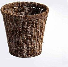 LYL Pastoral Stil Mülleimer, zu Hause Schlafzimmer weben Lager Barrel (29 * 20 * 29cm) ( Farbe : Braun )