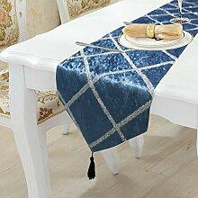 LYLLXL Tischläufer,Elegante Blaue Flanellstreifen