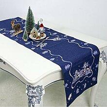 LYLLXL Tischläufer,Elegante Blaue Weihnachtsbaum