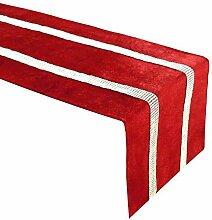 LYLLXL Tischläufer,Elegante Rote Strassstreifen