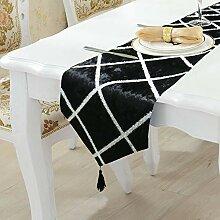 LYLLXL Tischläufer,Elegante Schwarze