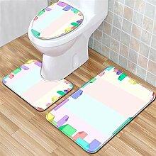 LYM 3-teiliges Badezimmer-Set, Teppich mit