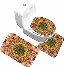 LYM WC-Sitzabdeckung 3pcs Griffige Badmatte