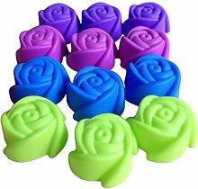 LYNCH 12 Stück Rose geformte Süßigkeit Fondant-Silikon-Form-Kuchen-Polymer Clay Werkzeuge