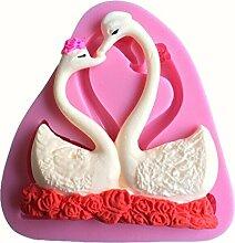 LYNCH 2 Stück Swan Form Fondant 3D Silikon-Kerze-Form-Zuckerfertigkeit Werkzeuge,Rosa