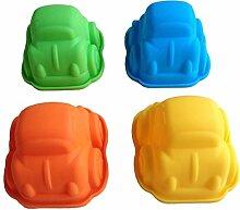 LYNCH 4 Stück Auto geformte Muffin Jello Mold-Fondant-Silikon-Kuchen-Werkzeuge