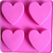 LYNCH 4 Stück Herz-Art-Silikon-Kuchen-Werkzeuge DIY Soap Süßigkeit Fondantform Kochgeschirr
