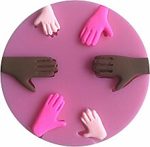 LYNCH Menschliche Handform 3D-Silikon-Kuchen-Fondant-Form-Backen-Werkzeuge,Rosa