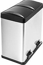 Lyndan - 60 Liter 60L Große Fingerabdruck Proof Edelstahl Treteimerl Mülleimer mit Deckel und Doppelt, Küche, Garage, Schuppen und Heimgebrauch Recyceln Abfall Recycling