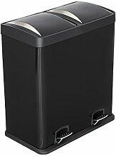Lyndan 60 Liter 60L Große Schwarz Stahl Treteimer Mülleimer mit Deckel und Doppelt, Küche, Garage, Schuppen und Hausgebrauch Recyceln Abfall Recycling