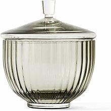 Lyngby Porcelæn - Bonbonniere, Glas, smoke, ø 10
