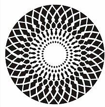 LYP-Teppiche modernen europäischen Stil Wohnzimmer Runde Teppich für Wohnzimmer Schlafzimmer Bettseite Zuhause Stuhl Groß Bereich Wolldecke Geometrisch Muster Schwarz Weiß Grau Gewaschener Couchtisch Nachttischteppich ( Farbe : Schwarz , größe : 120CM )