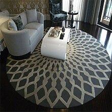 LYP-Teppiche modernen europäischen Stil Wohnzimmer Runde Teppich für Wohnzimmer Schlafzimmer Bettseite Zuhause Stuhl Groß Bereich Wolldecke Geometrisch Muster Schwarz Weiß Grau Gewaschener Couchtisch Nachttischteppich ( Farbe : Grau , größe : 100CM )