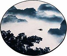 LYP-Teppiche modernen europäischen Stil Wohnzimmer Runder Teppich im Wohnzimmer Schlafzimmer für Couchtisch Nachttisch Stuhl rutschfester Bereich Teppich Matte Retro Stil Landschaft Muster Gewaschener Couchtisch Nachttischteppich ( größe : Diameter 160cm )