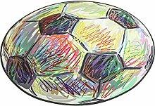 LYP-Teppiche modernen europäischen Stil Wohnzimmer Runder Teppich im Wohnzimmer Schlafzimmer für Couchtisch Nachttisch Stuhl Rutschfeste Oberfläche Teppich Matte Lovely Sweet Style Cartoon Fußball Muster Gewaschener Couchtisch Nachttischteppich ( größe : Diameter 100cm )