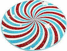 LYP-Teppiche modernen europäischen Stil Wohnzimmer Runder Teppich im Wohnzimmer Schlafzimmer für Couchtisch Nachttisch Stuhl Rutschfeste Bereich Teppich Matte Lovely Sweet Style Red Blue Spiral Pattern Gewaschener Couchtisch Nachttischteppich ( größe : Diameter 80cm )