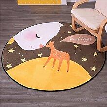 LYP-Teppiche modernen europäischen Stil Wohnzimmer Runder Teppich einfaches modernes Schlafzimmer Nachttisch Wohnzimmer Couchtisch mit verdicktem Computer Stuhl Teppich kriechende Matte Gewaschener Couchtisch Nachttischteppich ( Farbe : #2 , größe : Diameter 120 )