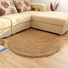 LYP-Teppiche modernen europäischen Stil Wohnzimmer Teppich Art und Weise runder Wolldecke Wohnzimmer Decke Sofa Kaffeetisch Teppich Nachttuch Kinderzimmer Teppich, Beige Gewaschener Couchtisch Nachttischteppich ( größe : 120*120cm )