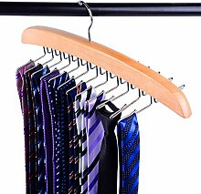 Lypumso 24 Krawattenhalter/Krawattenbügel aus Holz für 24 Krawatten, Krawatten Aufbewahrung Gürtelhalter