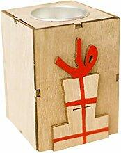 Lyqdxd Mini Aushöhlen Holz Kerzenhalter Vintage