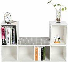 lyrlody Bücherschrank mit Sitzkissen Holz