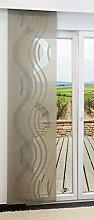 LYSEL Schiebegardine Stream Transparent mit Linien in Den Maßen 245 cm x 60 cm Beige/olivgelb