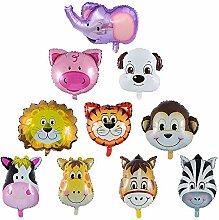 LYTIVAGEN 10 Stück Tiere Folienballon Luftballons