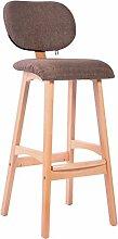 LYTSM® Amerikanischer Barhocker Massivholz Hoher Hocker Einfacher Barhocker Haushalt Barhocker Rückenlehne Front desk Stuhl 50 × 39 × 100cm stabil und langlebig (Farbe : Braun)