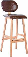 LYTSM® Amerikanischer Barhocker Massivholz Hoher Hocker Einfacher Barhocker Haushalt Barhocker Rückenlehne Front desk Stuhl 50 × 39 × 100cm stabil und langlebig (Farbe : #3)